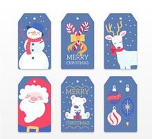 6款蓝色圣诞节吊牌矢量图