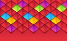 彩色纸质菱形格纹背景矢量图下载