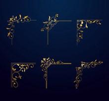 6款金色花纹花边矢量图下载