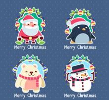 4款可爱圣诞节角色标签矢量图下载