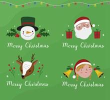 4款创意圣诞节角色头像标签图矢量图