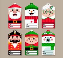 6款可爱圣诞老人留言吊牌图矢量图片