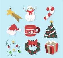 9款创意圣诞节装饰物品矢量图