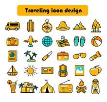 30款彩色旅行元素图标矢量图片