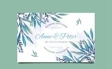 创意树叶婚礼邀请卡设计矢量图