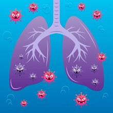 创意被病毒攻击的肺部矢量