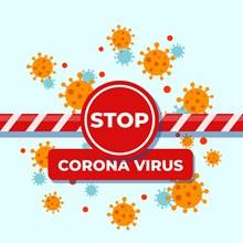创意阻止新型冠状病毒警示牌图矢量下载