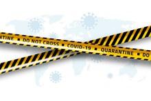 创意新型冠状病毒警示隔离带矢量图