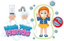 卡通预防新型冠状病毒的儿童海报矢量下载