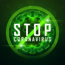 绿色阻止新型冠状病毒海报图矢量图片