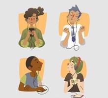 4款创意手机听音乐人物半身像图矢量下载