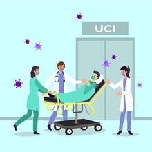 创意接收新冠肺炎病人的医生矢量