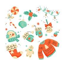 12款彩绘可爱冬季元素矢量下载