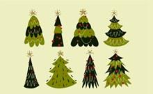 8款彩绘绿色松树矢量图片