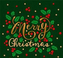 创意冬青圣诞节快乐艺术字矢量素材