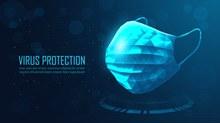 蓝色立体口罩海报矢量素材