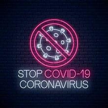 创意阻止新型冠状病毒霓虹灯矢量下载
