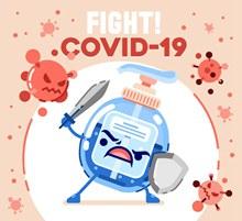 创意对抗新型冠状病毒的洗手液图矢量图片