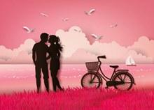 创意河边亲吻的情侣剪影矢量