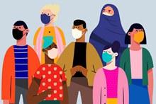 7个创意佩戴口罩的男女矢量图