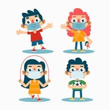 4款创意戴口罩玩耍的儿童图矢量图下载