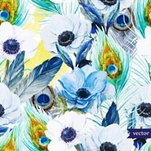 彩绘花卉和羽毛无缝背景图矢量图下载