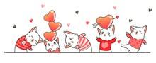 5款可爱猫咪和爱心矢量图下载