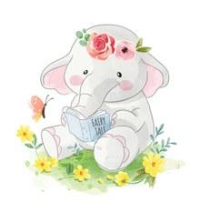 彩绘读童话书的大象矢量图下载