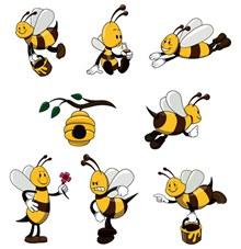 7款可爱黄色蜜蜂矢量图下载
