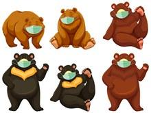 6款卡通戴口罩的熊矢量图片