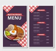 彩绘餐馆菜单正反面设计矢量图片