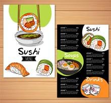 彩绘美味寿司菜单矢量