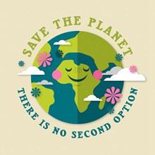 扁平化地球环保宣传海报图矢量图片