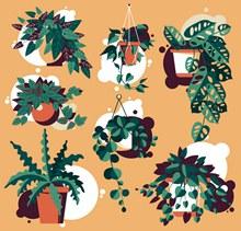 7款创意绿色植物盆栽矢量图下载