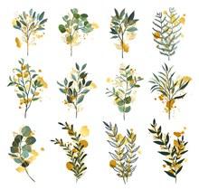 12款创意绿色树枝设计矢量图片