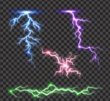 4款彩色闪电设计矢量素材