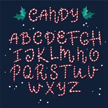 26个创意糖果大写字母矢量图