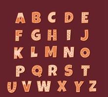 26个创意花纹饼干字母素矢量下载