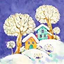 彩绘雪地上的房屋和树木风景图矢量下载