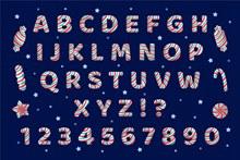 26个彩色条纹糖果字母和12个数字符号图矢量下载