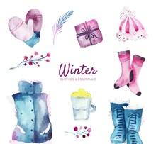 10款水彩绘紫色蓝色系冬季元素图矢量