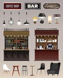 酒吧内部陈列架家具物品矢量图下载