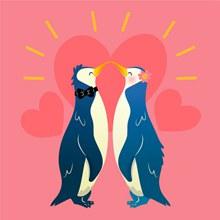 彩绘企鹅情侣和爱心矢量