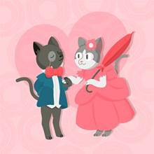 可爱穿礼服的情侣猫咪矢量图下载