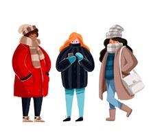 3款创意冬装人物矢量图