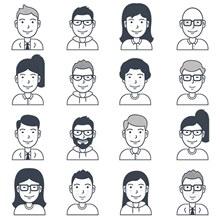 16个免费的用户卡通形象图标矢量图