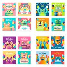 卡通小怪兽元素的生日卡片矢量图下载