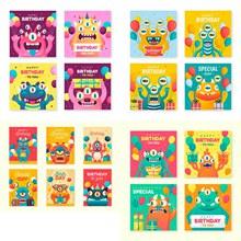 怪兽卡通创意元素插画卡片矢量图片