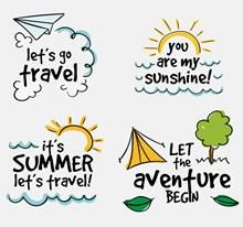 度假旅游手绘图标矢量下载