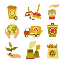 垃圾回收废品卡通图标矢量图